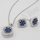 SETURI Pietre Semipretioase Set argint cu zircon bleu