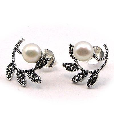 SETURI Argint si Marcasit Set perla model frunzulita
