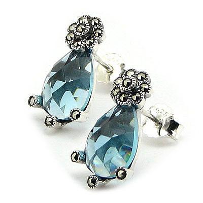 SETURI Argint si Marcasit Set marcasit si zircon bleu 3