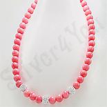 Bijuterii HANDMADE - NOU! - Colier argint margele coral roz si cristale albe - PK2315