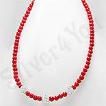 Bijuterii HANDMADE - NOU! - Colier argint margele coral rosu si cristale albe - PK2317