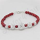 - Bratara argint cristale albe margele coral rosu multifatetate - PK2234