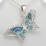 Bijuterii argint cu abalone - Pandantiv argint fluture abalone - PK2270