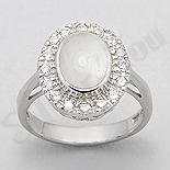 INELE - Inel argint oval cu sidef alb si zirconi albe - PK2019
