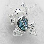 Bijuterii argint cu abalone - Pandantiv argint broasca cu abalone - PK1227