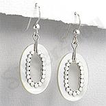 - Cercei argint ovali sidef alb - PK1840