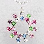 PANDANTIVE - Pandantiv argint rotund cu cristale multicolore - PK2347