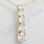 Bijuterii argint placate cu aur - Pandantiv argint zircon alb aurit 14k - PK1430