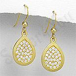 Bijuterii argint placate cu aur - Cercei argint auriti mici lacrima pietre albe zircon - PK2477
