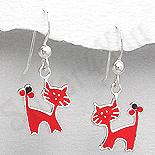 Cadouri Femei 1-8 Martie - Cercei argint pisici rosii mici - PK2537