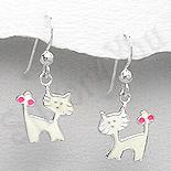 Bijuterii Copii - Cercei argint pisici albe mici - PK2538