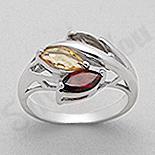 - Inel argint granat citrin aspect aur alb - PK2209