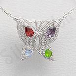 Bijuterii argint cu ametist - Pandantiv argint fluture aspect aur alb zirconii pietre semipretioase - PK2335