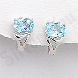 - Cercei argint aspect aur alb topaz bleu - PK2340
