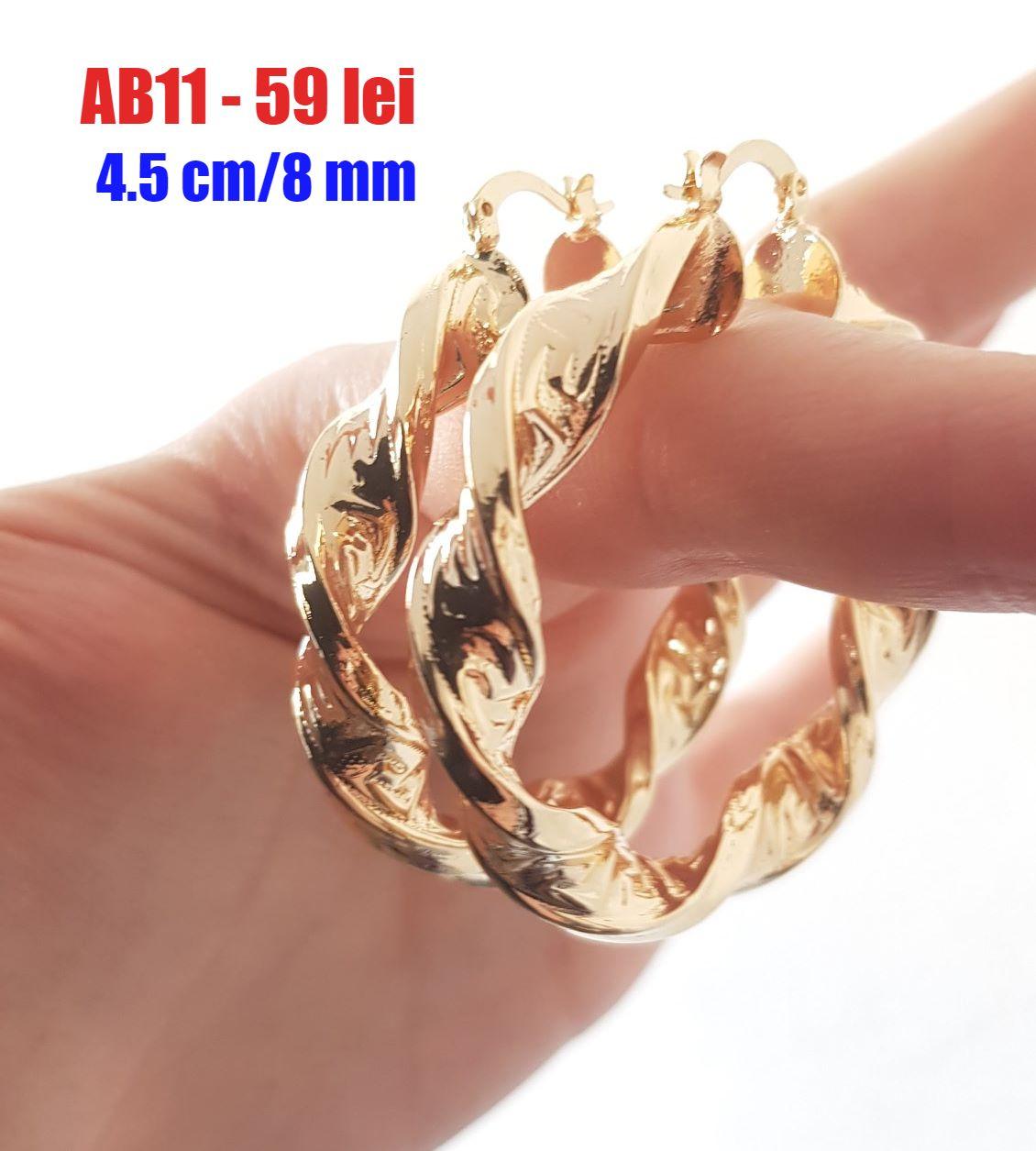 Cercei auriti cu aur de 14K - 4.5 cm - AB11