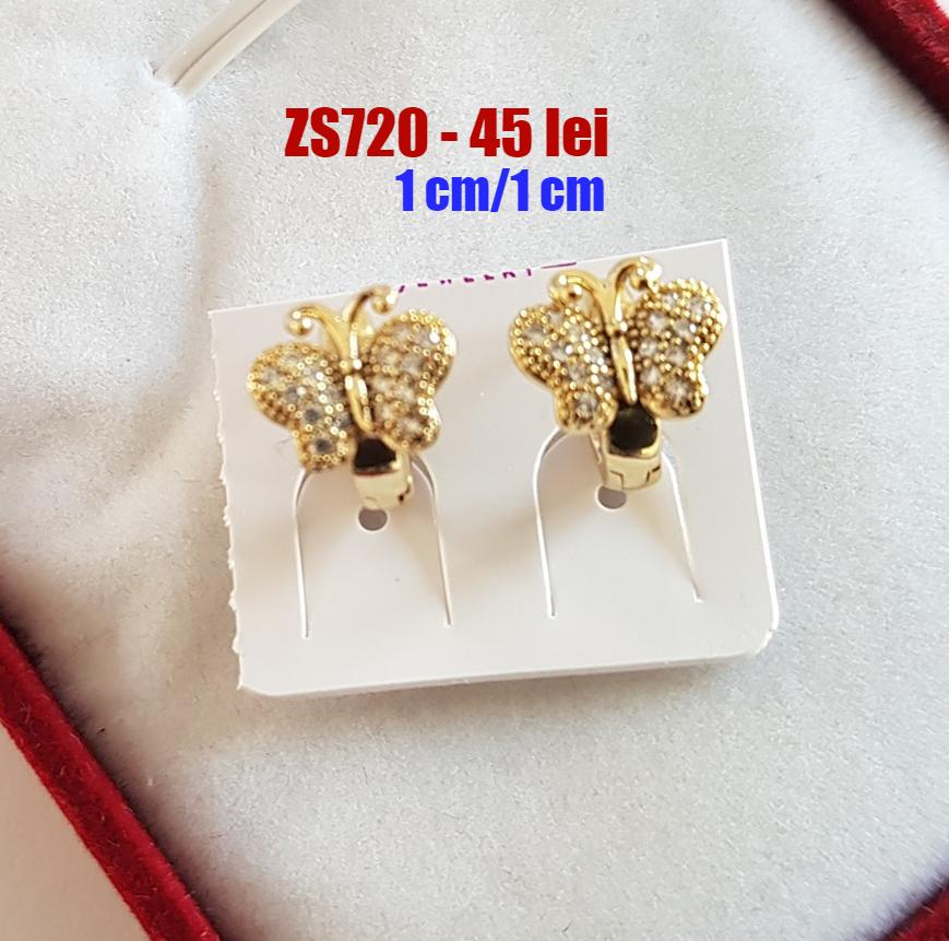 Cercei in culoarea aurului 14K zirconii albe - 1cm - ZS720