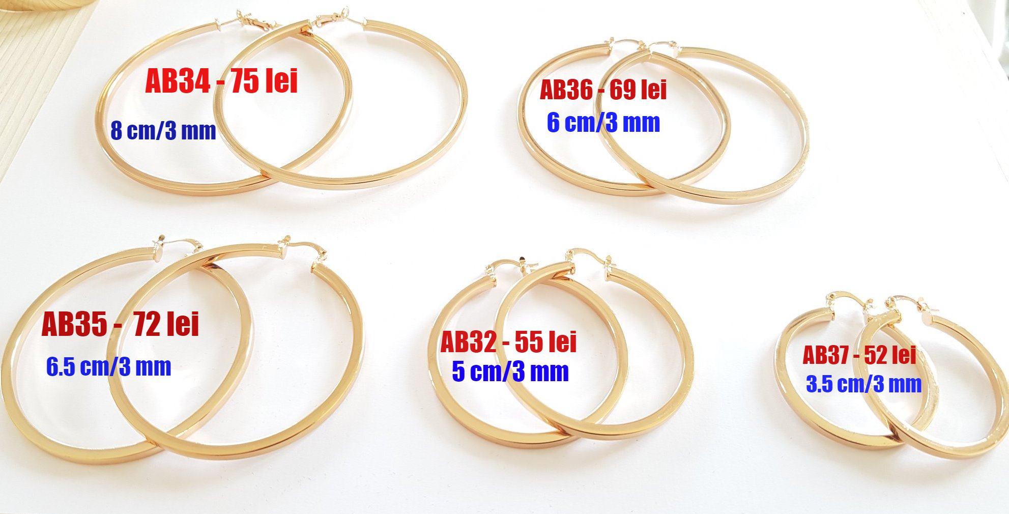- Cercei inox auriti 18K - 3.5 cm - AB37