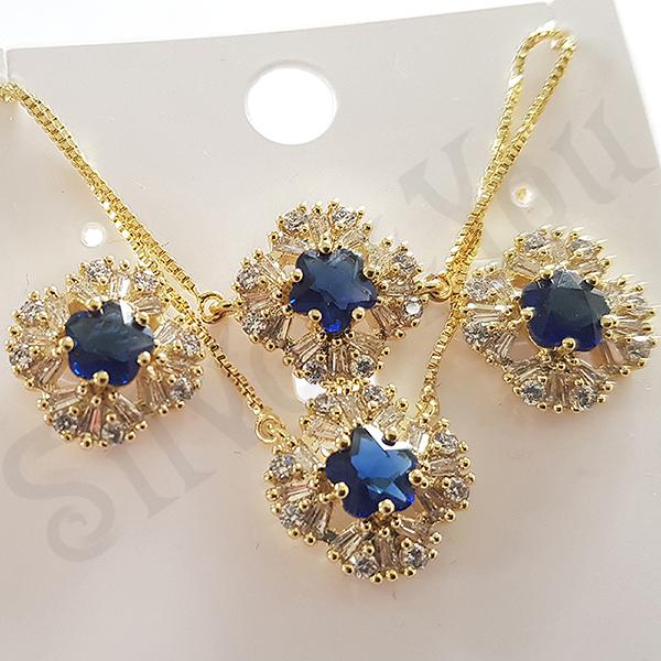 Bijuterii in Culoarea Aur 14K - Set cercei, colier si bratara in culoarea aurului 14K zirconii albe - ZS763