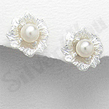 REDUCERI - Cercei argint floare cu perla alba - PK1828