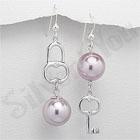 Bijuterii argint cu perle - Cercei argint cu perlute roz - PF5501