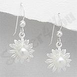Bijuterii argint cu perle - Cercei argint floare cu perla alba - PK1830