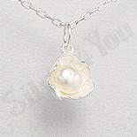 Bijuterii argint cu perle - Pandantiv argint floare cu perla alba - PK1949