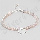 Bijuterii argint cu perle - Bratara argint perle albe si inima - PK2486