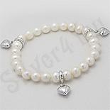 Bijuterii argint cu perle - Bratara argint perle albe si inimi - PK2487