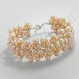 Bijuterii argint cu perle - Bratara argint cu perlute piersica - BF3053