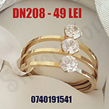 INELE - Inel din inox in culoarea aurului cu zirconii albe - DN208