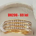 INELE - Verigheta din inox in culoarea aurului cu trei randuri de zirconii albe - DN206