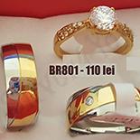 Set inox 2 verighete si inel logodna - BR801