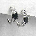 - Cercei argint safir negru zircon alb mici - PK1913