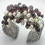 Bijuterii HANDMADE - Bratara perle albe si cristale mov - PK2239