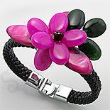 Bijuterii HANDMADE - Bratara piele neagra cu floare roz - PK2242