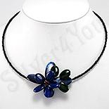 Bijuterii HANDMADE - Colier negru cu floare albastra - PK2241
