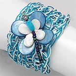 Bijuterii HANDMADE - NOU! - Bratara turcoaz impletita fluture sidef perla jad - PK2247