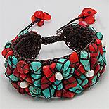 Bijuterii HANDMADE - NOU! - Bratara maro turcoaz perle si coral rosu - PK2235
