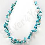 Bijuterii HANDMADE - Colier turcuaz perle cristale albe - PK2320