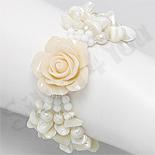 Bijuterii HANDMADE - NOU! - Bratara trandafir alb cu sidef alb, perle, cristale, pietre, margele - PK2006