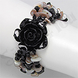 Bijuterii HANDMADE - NOU! - Bratara trandafir negru din sidef, onix, cristale si margele - PK2008