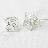 Bijuterii Argint - Cercei argint si zircon alb/6 mm - CT23C