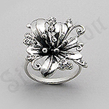 INELE - Inel argint floare  cu zirconii albe - PF4020