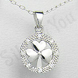 Bijuterii argint de mireasa - Pandantiv argint trifoi aspect aur alb - PK1230