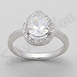 Bijuterii argint de mireasa - Inel argint logodna zirconii albe aspect aur alb - PK2023