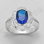 SETURI Argint, Zircon Si Pietre - Inel argint zircon albastru aspect aur alb - PK1300