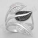 INELE ARGINT - Noutati! - Inel argint aspect aur alb frunze cu zircon alb-negru - PK1295