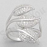 INELE - Inel argint aspect aur alb frunze cu zircon alb - PK1294