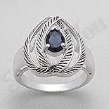 INELE ARGINT - Noutati! - Inel argint zircon albastru aspect aur alb - PK1485