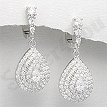 - Cercei argint zirconi albe aspect aur alb nunta - PK1861
